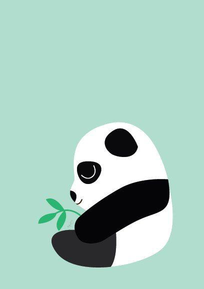 Baby Panda Sitting Poster  Modern Animal by Sealandfriends on Etsy, $10.50