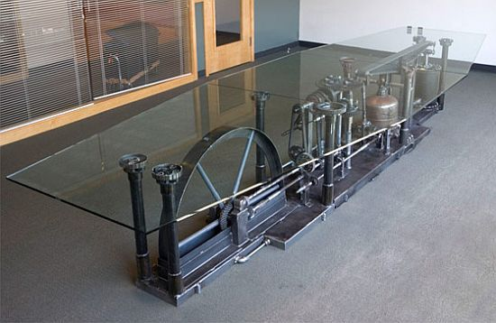 Unique Conference Table has James Watt Beam Engine as base