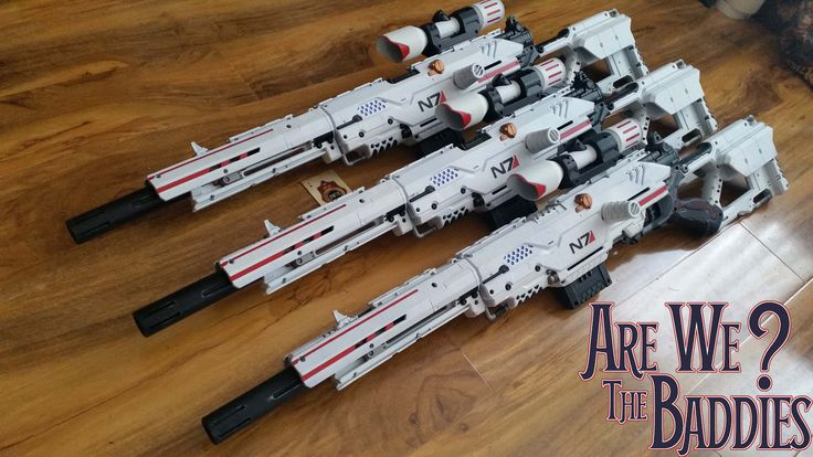 Mass Effect N7 sniper rifles created from just spending hours and hours  repainting Nerf guns