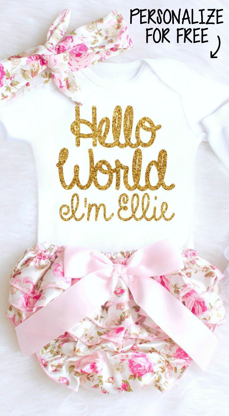5a7ab93fde98 Baby Girl Coming Home Outfit features Hello World Onesie