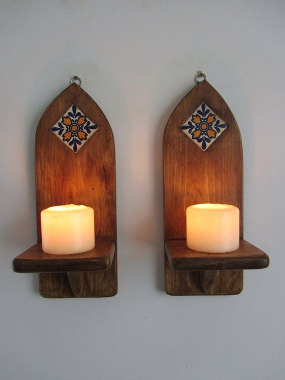 Pair Of Mexican Wall Sconce Led Candle Holders With Inset Hand Painted Terracotta Tile Decoration Led Candle Holders Sconces Led Candles