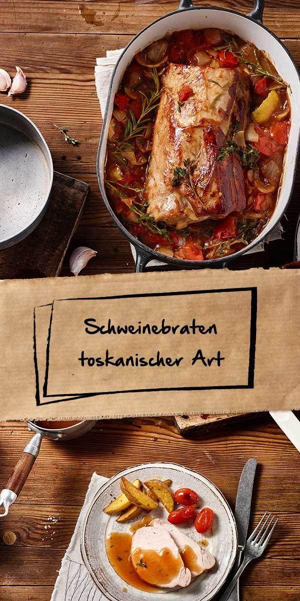 Den Schweinebraten toskanischer Art solltest du unbedingt ausprobieren! Kartoffeln, Tomaten und viele Kräuter sorgen für einen herrlich aromatischen Geschmack - so lecker hast du einen Braten noch nie gegessen. Wir wünschen guten Appetit.