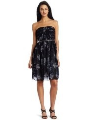 Donna Morgan Womens Strapless Printed Chiffon Dress