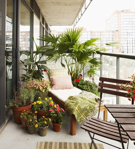 Urban Garden Balcony ~ An abundance of potted plants provides much needed privacy. ~ Homeowner Beth Hitchcock added casual homey charm to her former concrete condo balcony with colourful flowers and fun prints. Plants in various shapes create height, dimension and character.