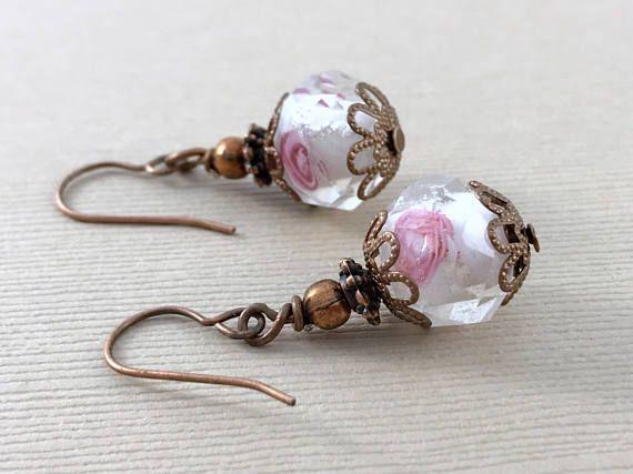 Copper Earrings Flower Earrings Bohemian Earrings Dangle Drop