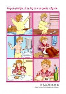 Leg de plaatjes in logische volgorde opstaan, kleuteridee.nl, free printable / logical sequence preschool / séquence logique maternelle