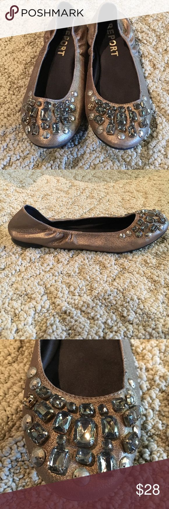 Bronze Gold Jeweled Ballet Slip-on Shoes Bronze Gold Jeweled Ballet Slip-on Shoes from Macy's. Very good quality. Shimmery color. Excellent Condition. Report Shoes Flats & Loafers