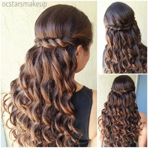 My Work: Prom Hairstyle Beautiful curls with a twisted braid can be nice for a Quince or Sweet 16 hairstyle.