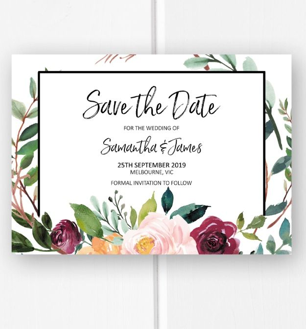 Floral save the date card printable, save the date invite from Pink Summer Designs on Etsy