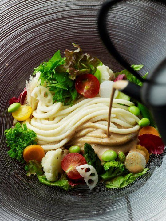 Japanese Udon Noodles and Rich Vegetables Salad with Creamy Sesame Dressing サラダうどん