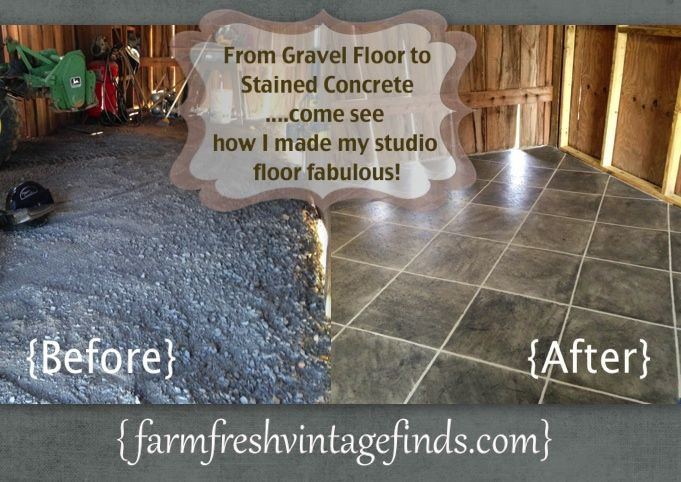 Wow! What an awesome difference staining this concrete floor made!