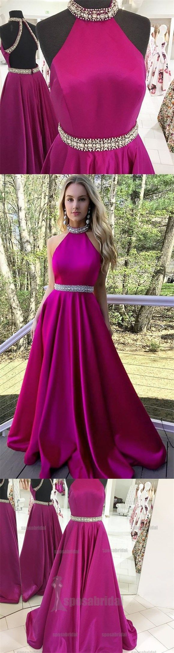 A-line High Neck Stunning Open Back Elegant Gorgeous Fashion Long Party Prom Dresses, PD0575