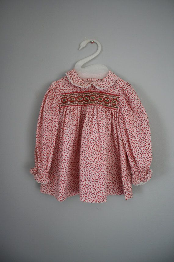 Girls Red Floral Smocked Top Blouse by babyshapes on Etsy