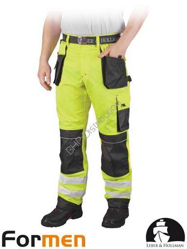 Żółte spodnie robocze do pasa z pasami odblaskowymi LH-FMNX-T (YSB)