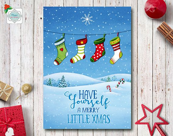 Merry Christmas Card, Printable Holiday Greeting Cards, Watercolor Christmas Stockings Winter Landscape, Holiday Decor, Happy Holidays Card