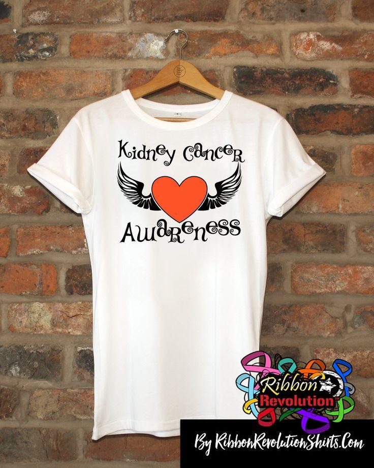 Kidney Cancer Awareness Heart Tattoo Wing Shirts