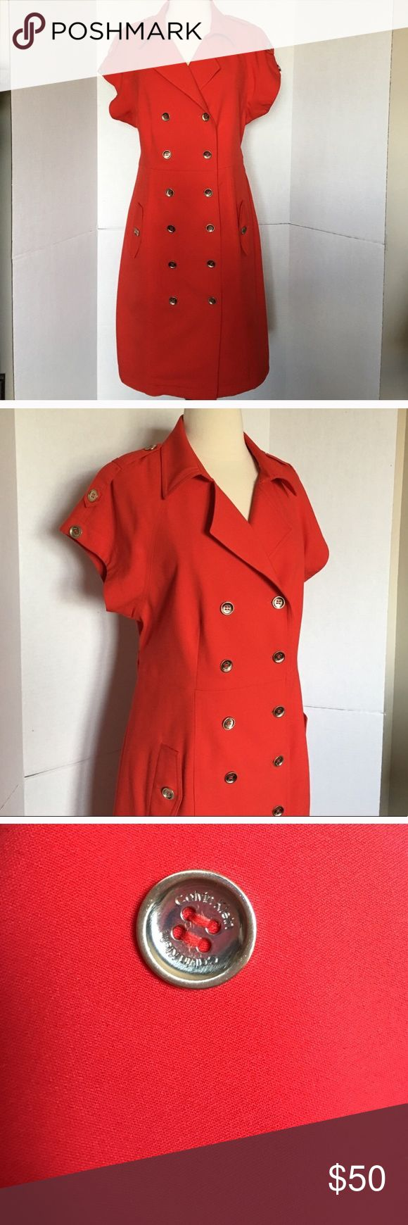 """Calvin Klein red dress size 14. ❤️❤️💋💋 NWOT Calvin Klein red dress size 14. ❤️❤️💋💋. Runs small . Measures: 38"""" lenght, 40"""" bust, 36"""" waist, 45"""" hips. 63 % Polyester, 33% rayon and 4% Spandex. Calvin Klein Dresses"""