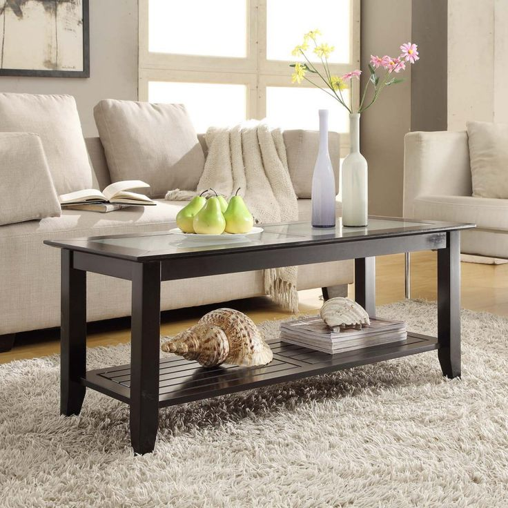 Convenience Concepts Carmel Rectangle Wood And Glass Coffee Table With Shelf