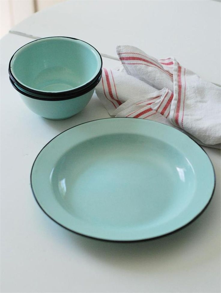 Details about Vintage French Light Blue Enamel Set of 6