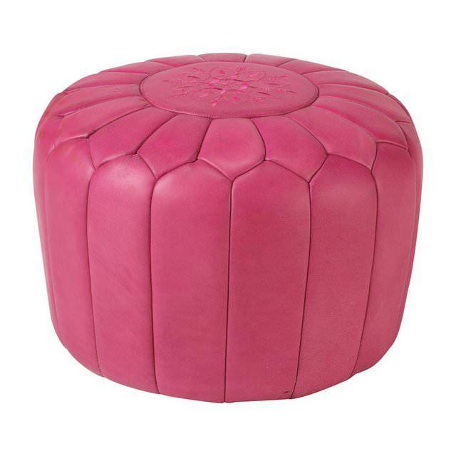 Pouf marocchino in pelle rosa Marrakech