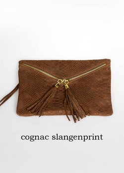 Cognac leather clutch