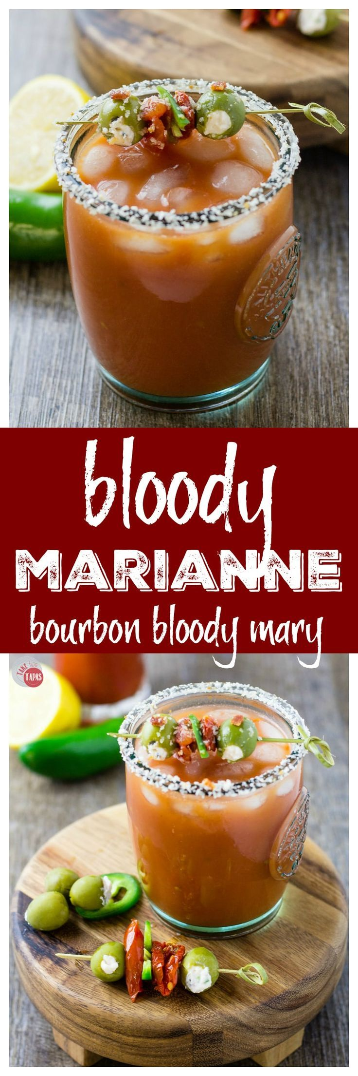 A bourbon twist on a Bloody Mary | Bloody Marianne | Take Two Tapas | #BloodyMary #BloodyMarianne #bourbon #Cocktails