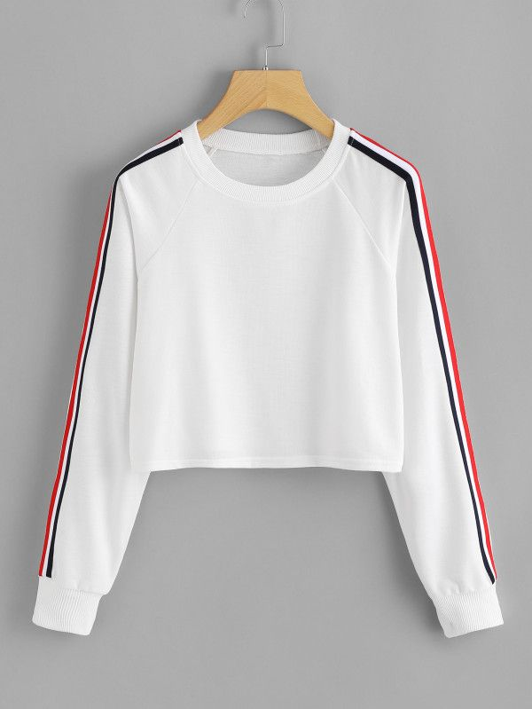 860b8c34 Stripe Tape Detail Crop Pullover -SheIn(Sheinside) | Fashion in 2019 |  Outfits, Cool outfits, Cute outfits