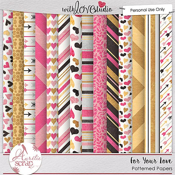 """Patterned Papers """"For your love"""" by Aurélie Scrap. It contains : 14 patterned papers"""