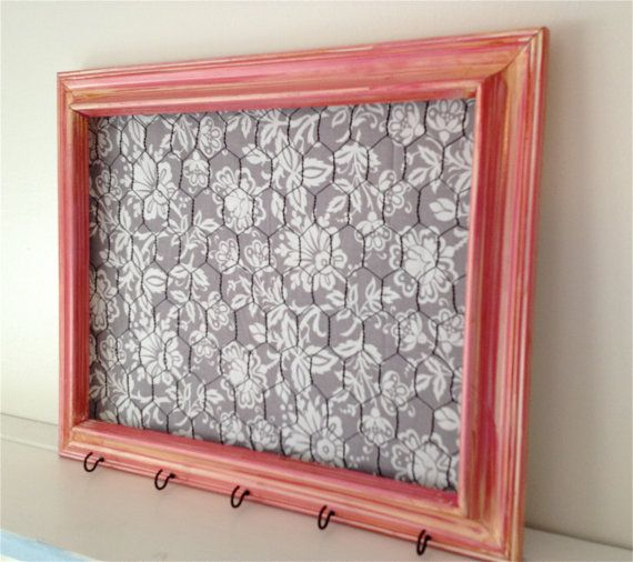 Distressed Pink Chicken Wire Frame with Gray Fabric, Hair bow and hair clip orgainizer, memo board, photo board, jewelry holder