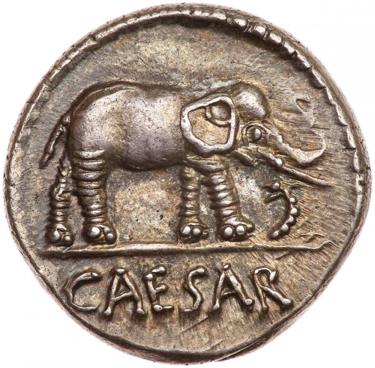 Julius Caesar. Silver Denarius (3.65 g), 49-48 BC EF . CAESAR in exergue, elephant advancing right, trampling horned serpent. Pontifical implements: simpulum, sprinkler, axe and priest's hat. Crawford 443/1; HCRI 9; Sydenham 1006; RSC 49. Delicately toned. Perhaps the most ubiquitous of Caesar's denarii, this famous issue was struck at the time of his crossing of the Rubicon and the beginning of the long period of civil wars which resulted in the downfall of the Roman Republic. A few…