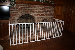 30 PVC Pipe Ideas for Kids with Tutorials  --   This is around the fire place but, I need something to divide rooms like, the kitchen and living room will this work for a light weight baby gate??