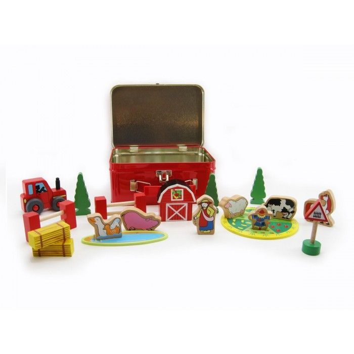 Wooden Farm Set in Tin Carry Case I love it - the perfect carry along set.