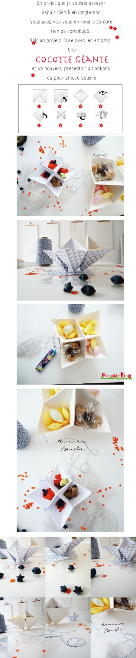 présentoir, origami, cocotte papier, folding paper, plat de service, pinpointing