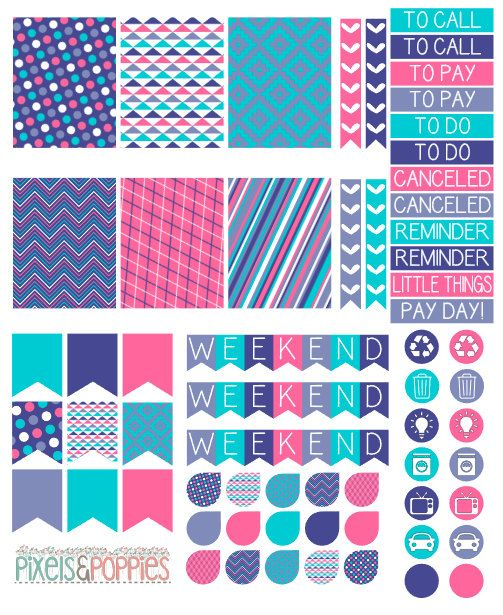 73 Pink Purple and Teal Theme Stickers by PixelsAndPoppiesShop