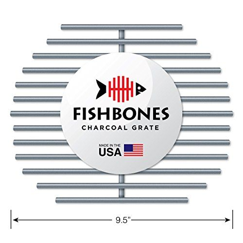 #Fishbones Heavy Duty Charcoal Grate Upgrade for size Large Big Green Egg (R). The Fishbones Charcoal Grill Grate is made in the USA of heavy duty 304 Grade Stai...