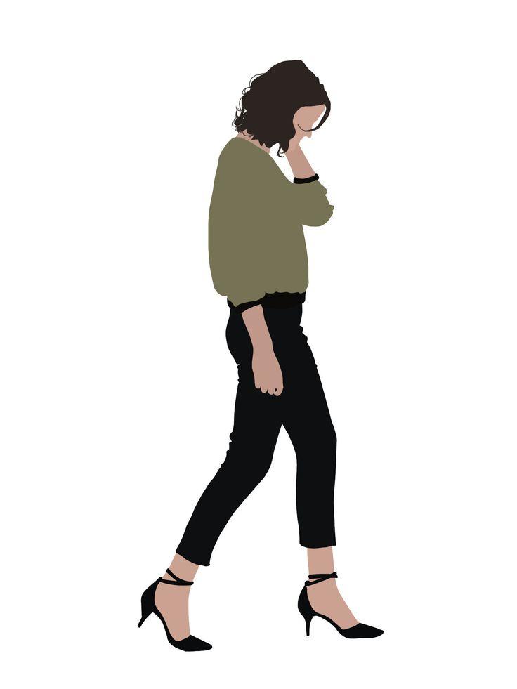 Zeichen Vektor Clipart PNG AI Mensch Person Illustration Woman etsy.me/2nVPBaY #kunst #zeichnungen #grun #weiss