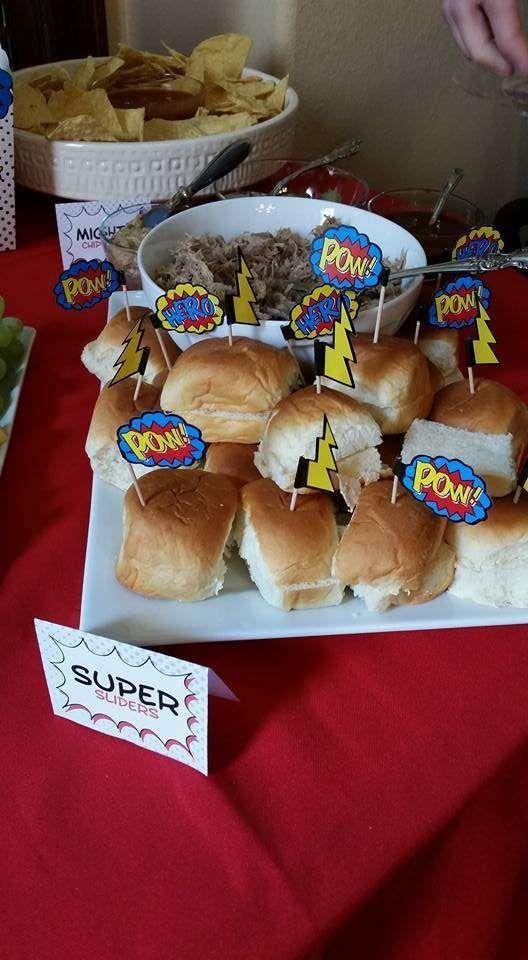 Superhero Baby Shower | CatchMyParty.com                                                                                                                                                                                 More