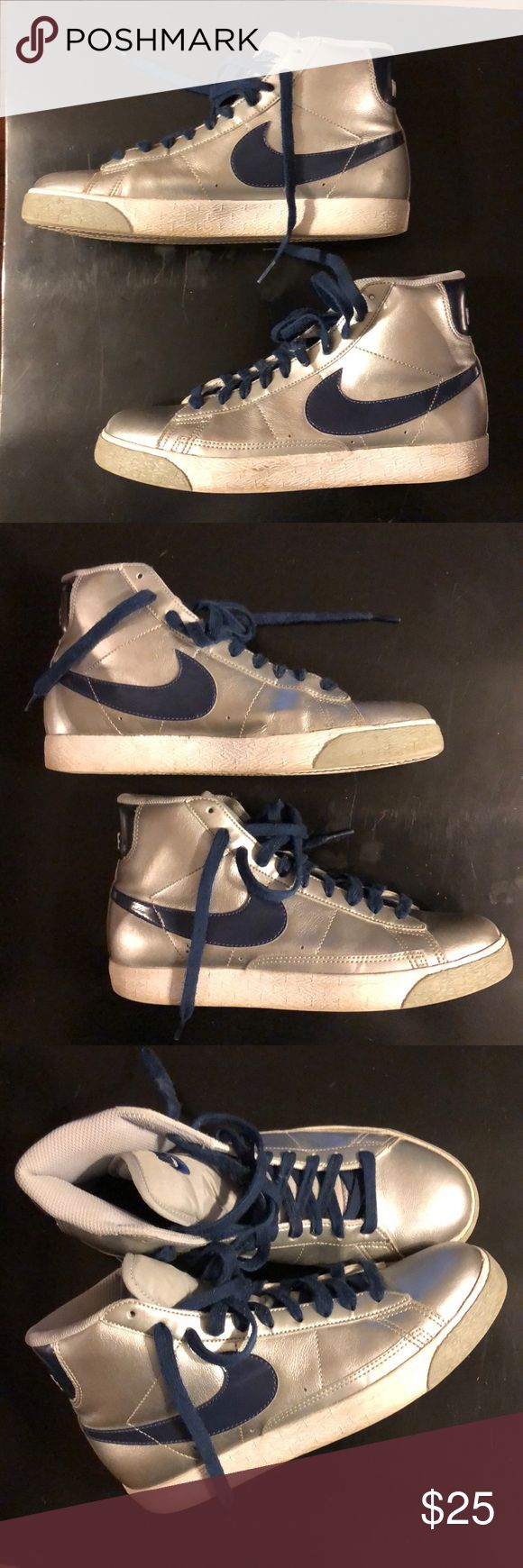 Silver & Navy Nike High Tops Y-6 W-7.5 Silver & Navy Nike High Tops I'm very good pre-owned condition. Youth Sz 6 which fits a Women's 7.5.  These are a rare find, Nike original High Tops. Nike Shoes Sneakers