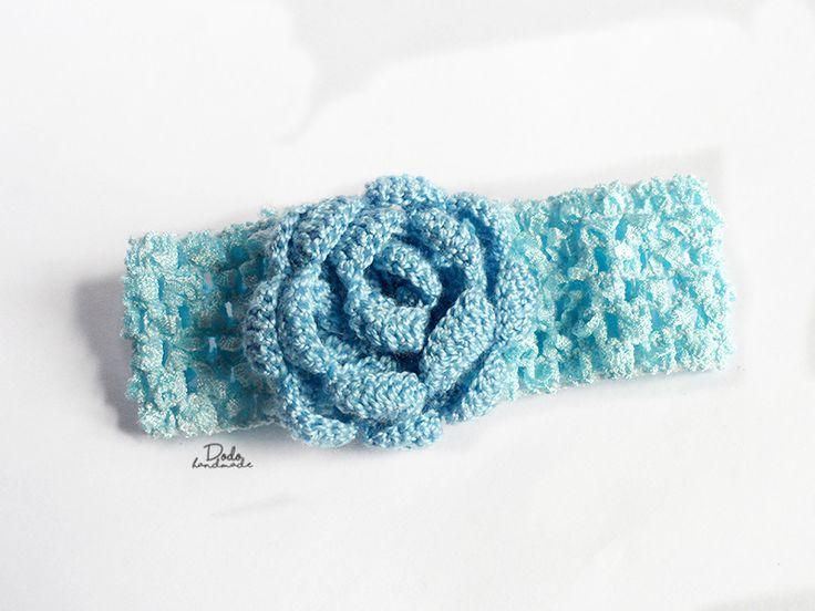 Ażurowa opaska z różą - DodoHandmade - Opaski dla dzieci