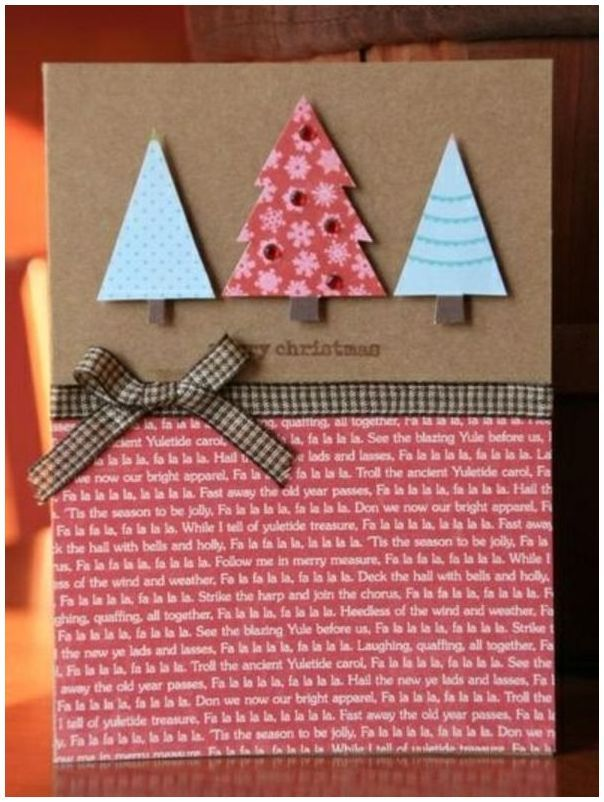 Новогодняя открытка легко и просто, днем рождения
