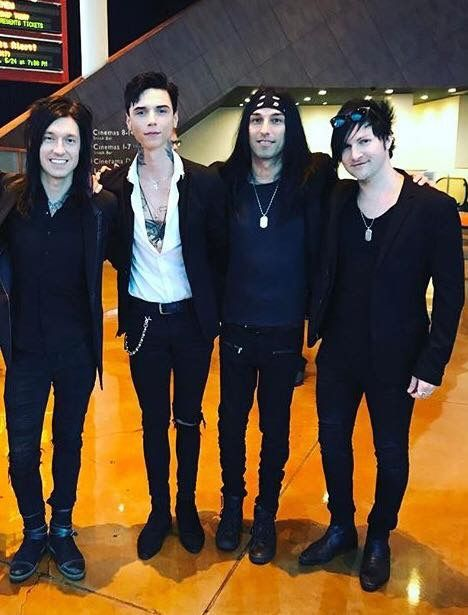 Jake Pitts. Andy Biersack. CC Coma. Jinxx. At a private screening for American Satan on 4/18/17.