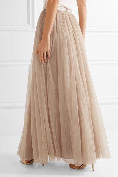 Needle & Thread - Tulle Maxi Skirt - Beige - UK14