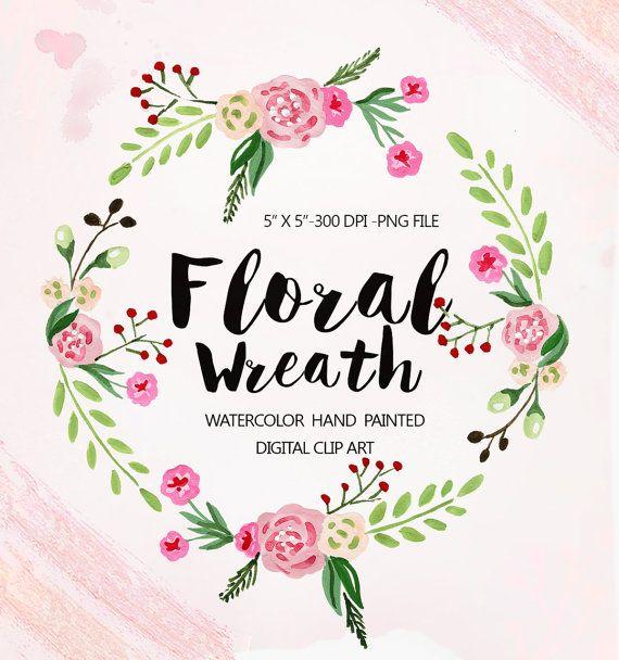 Aquarelle clipart couronne florale fleurs de par DigitalCloud