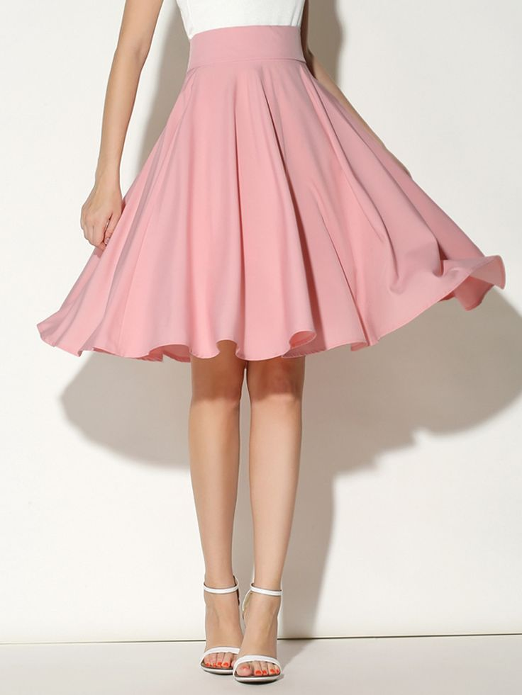 Pink High Waist Midi Skater Skirt- super cute! My friend Kylie would look great in it @whtkylierose