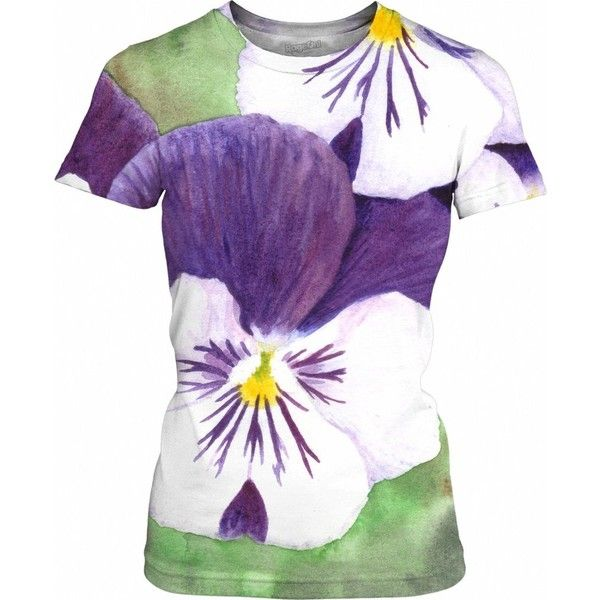White and purple pansies flowers Womens T-Shirt ($25) ❤ liked on Polyvore featuring tops, t-shirts, pansies, women, flower print tops, floral print tops, flower t shirt, purple tee and white t shirt