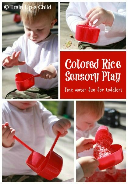 Valentine's Sensory Play with Colored Rice - Simple yet awesome sensory tool for developing hand eye coordination, fine motor skills and much more!