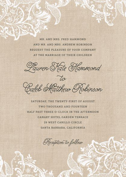 Create personalized Burlap & Lace Wedding Invitations to add a special touch. 100% guarantee on all our products! | Orders ship in 24-48hrs | Evermine