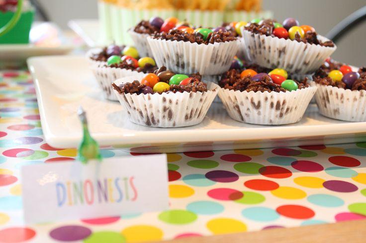Dinosaur party food / dessert table Chocolate crackles