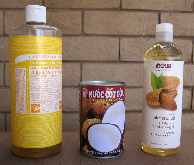 Coconut Milk Shampoo - Tiffany Lane Ingredients 2 cups coconut milk (homemade or canned, I used a whole 13.5 oz can) 2 2/3 cup liquid castile soap, scented or unscented (I like Dr. Bronner's Liquid Castile Soap – Almond*) 2 tbsp sweet almond*, olive, or vitamin e (I used and love Sweet Almond Oil*) optional  Preparation Combine all ingredients in a shampoo bottle or jar (I cleaned and reused the bottle from the commercial shampoo I had been using).  Shake well to mix before each use.  Store…