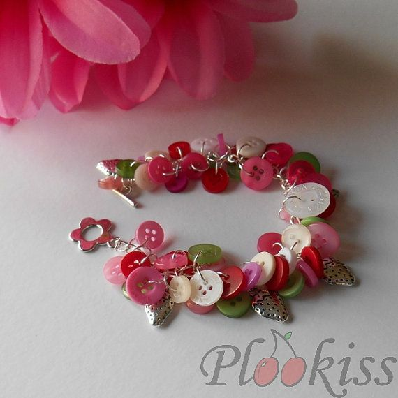 Strawberry Charm Button Bracelet with Toggle Fastening and Strawberry Themed Charms